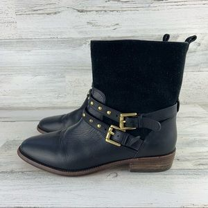 COACH Lilliana Black Leather Ankle Boots Size 6.5B